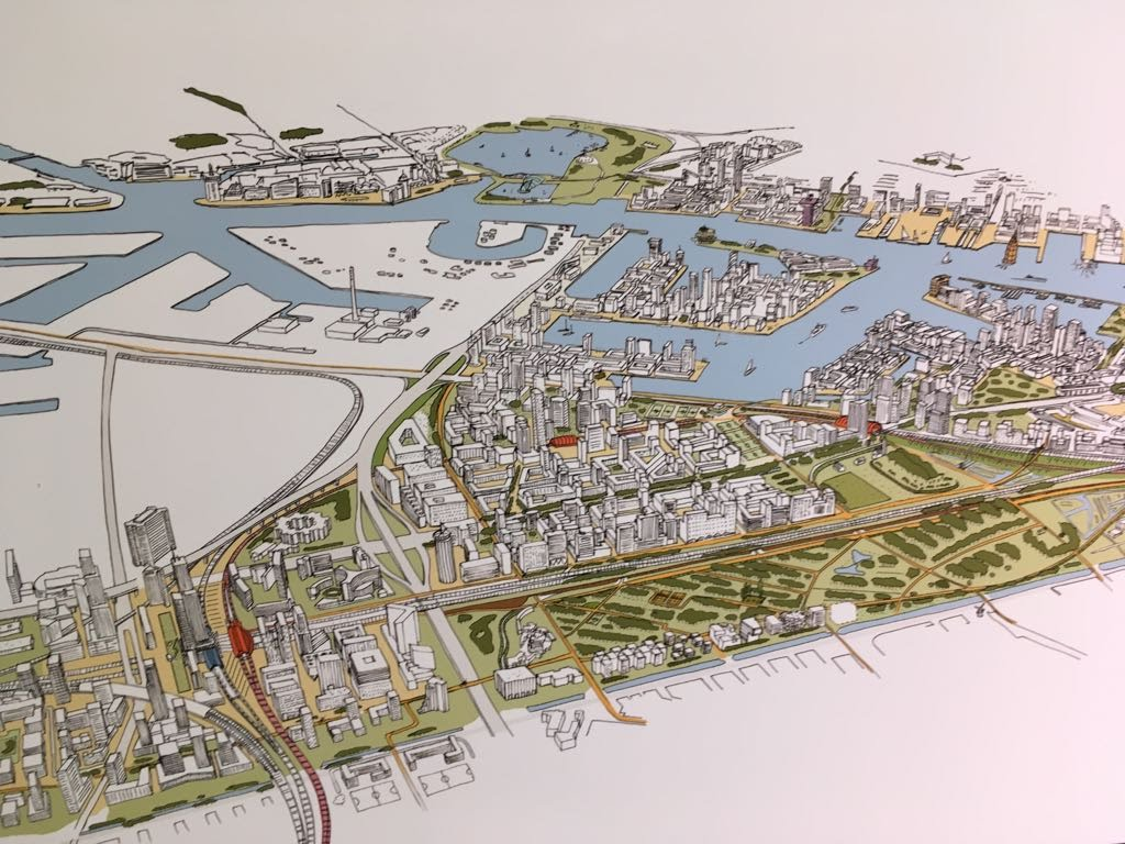 Redevelopment of the harbour of Amsterdam but not connected to the old city by water.